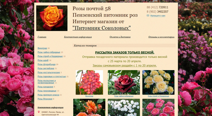 Саженцы роз в Пензе